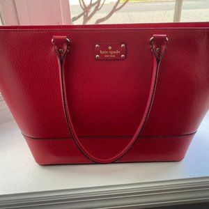 Kate Spade Large Red Leather Tote Bag